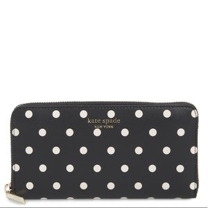 NWT Kate Spade Cabana Zip-Around Polka Dot Wallet